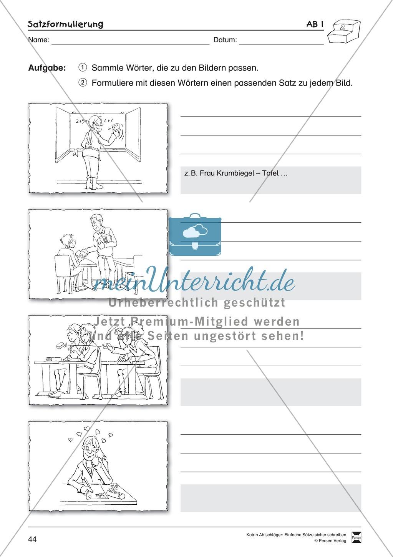 Einfache Sätze richtig schreiben: Übungsblätter zu Satzformulierungen Preview 1
