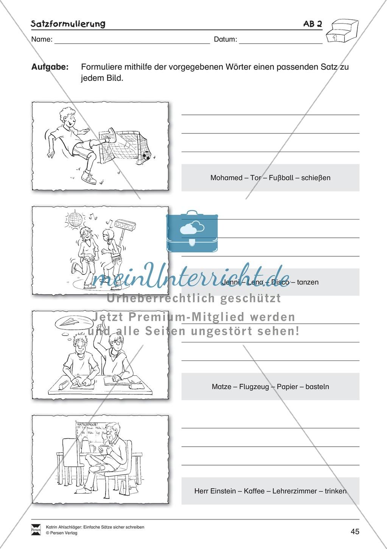 Einfache Sätze richtig schreiben: Übungsblätter zu Satzformulierungen Preview 2