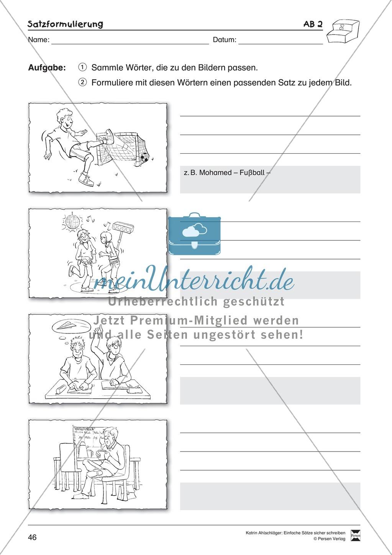 Einfache Sätze richtig schreiben: Übungsblätter zu Satzformulierungen Preview 3