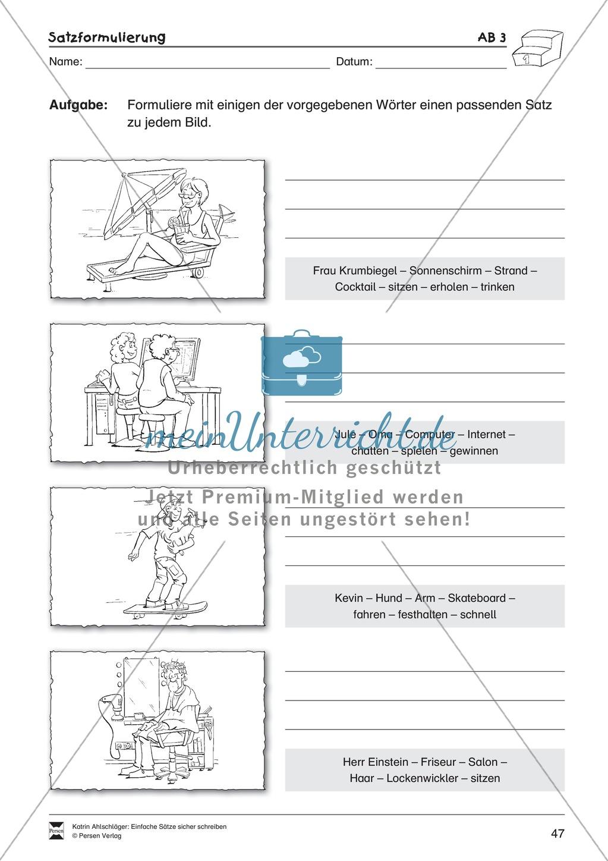 Einfache Sätze richtig schreiben: Übungsblätter zu Satzformulierungen Preview 4