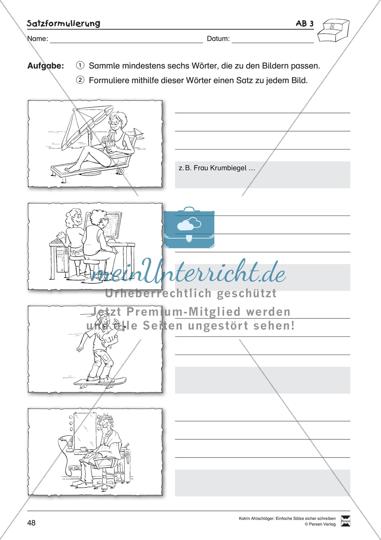 Einfache Sätze richtig schreiben: Übungsblätter zu Satzformulierungen Preview 5
