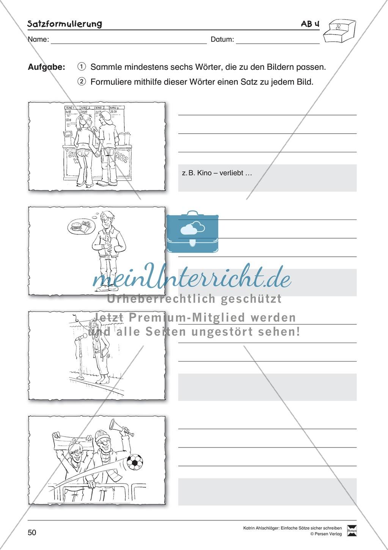 Einfache Sätze richtig schreiben: Übungsblätter zu Satzformulierungen Preview 7