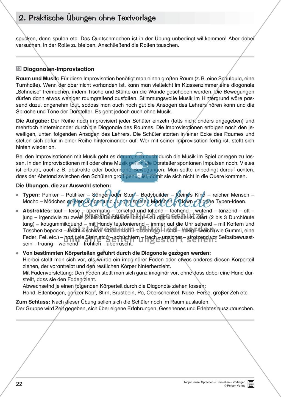 Szenische Übungen ohne Textvorlage: Sprachübungen + Spielübungen + Übungen zur Selbstpräsentation Preview 14