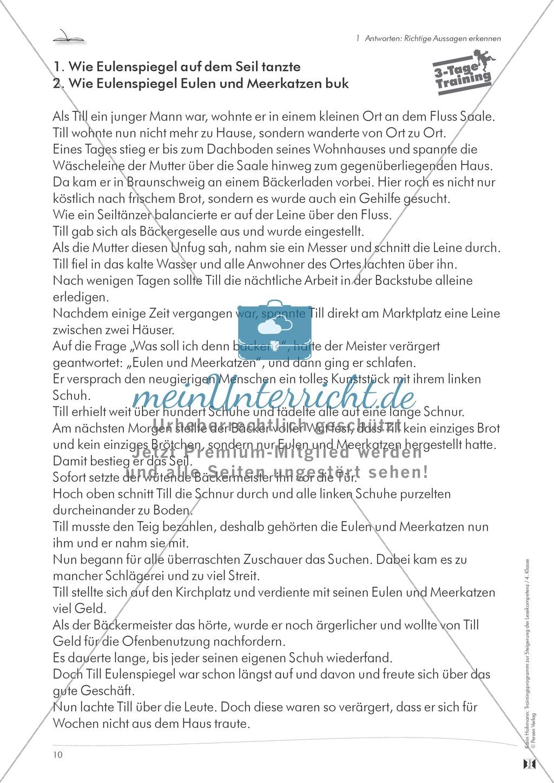 Lesekompetenz aufbauen - richtige Aussagen erkennen: Till Eulenspiegel Preview 4