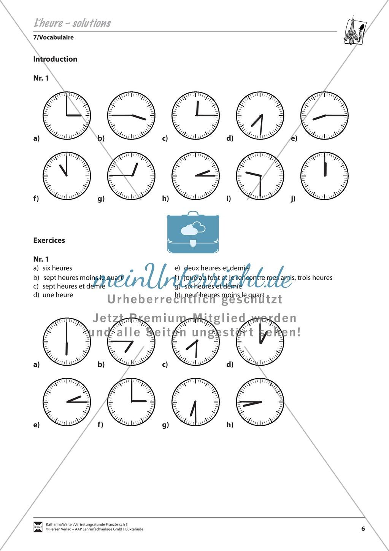 Grammatik für Anfänger: L´ heure- Die Uhrzeit Preview 2