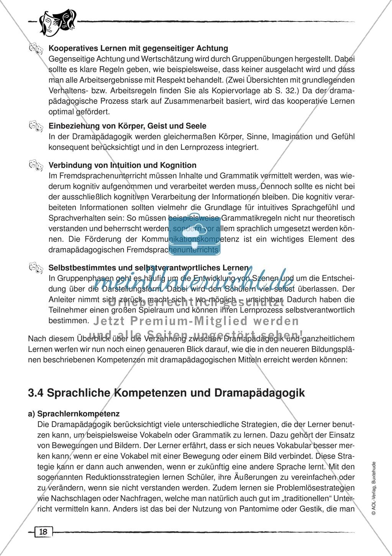Dramapädagogik: Unterschied zur Theaterpädagogik, drei Phasen des Pädagogikunterrichts, Kompetezen Preview 5