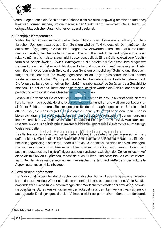 Dramapädagogik: Unterschied zur Theaterpädagogik, drei Phasen des Pädagogikunterrichts, Kompetezen Preview 7