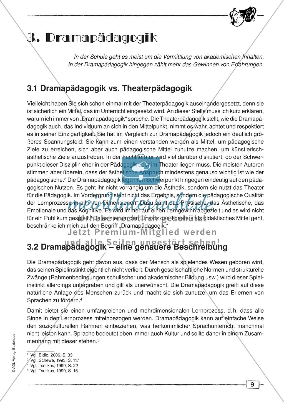 Didaktischer Artikel zur Theorie der Dramapädagogik: Beschreibung + Erwerb sprachlicher Kompetenzen durch Dramaturgie Preview 0