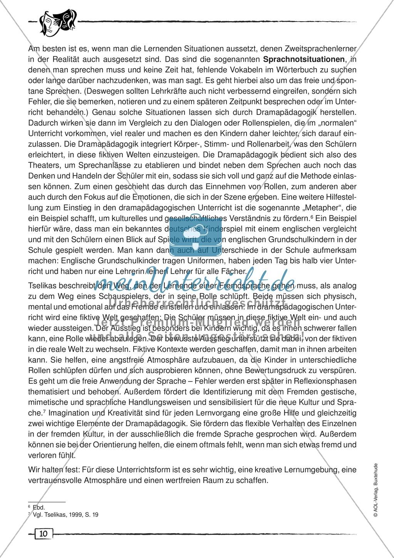 Didaktischer Artikel zur Theorie der Dramapädagogik: Beschreibung + Erwerb sprachlicher Kompetenzen durch Dramaturgie Preview 1