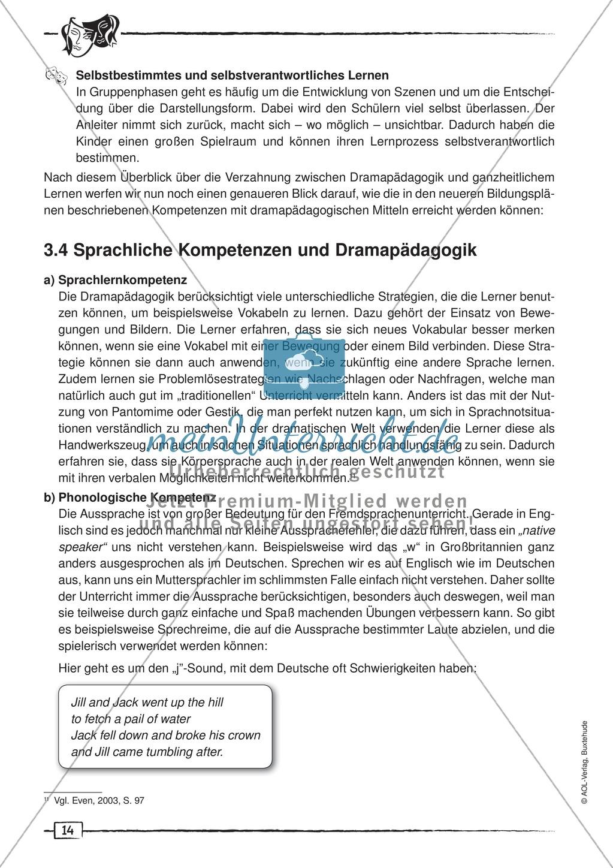 Didaktischer Artikel zur Theorie der Dramapädagogik: Beschreibung + Erwerb sprachlicher Kompetenzen durch Dramaturgie Preview 5