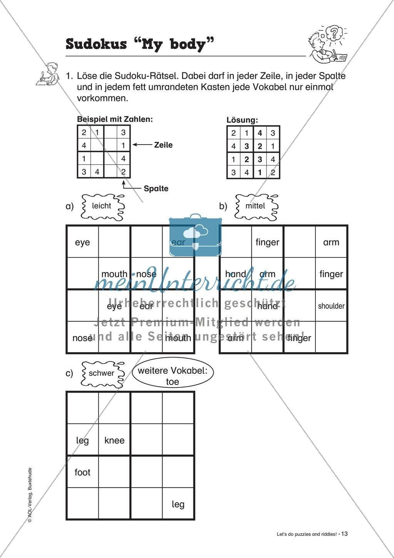 Knobel-.  Denk- und Schreibrätsel zur Festigung von Grundwortschaft und einfachen Satzmustern im Englischunterricht Preview 10