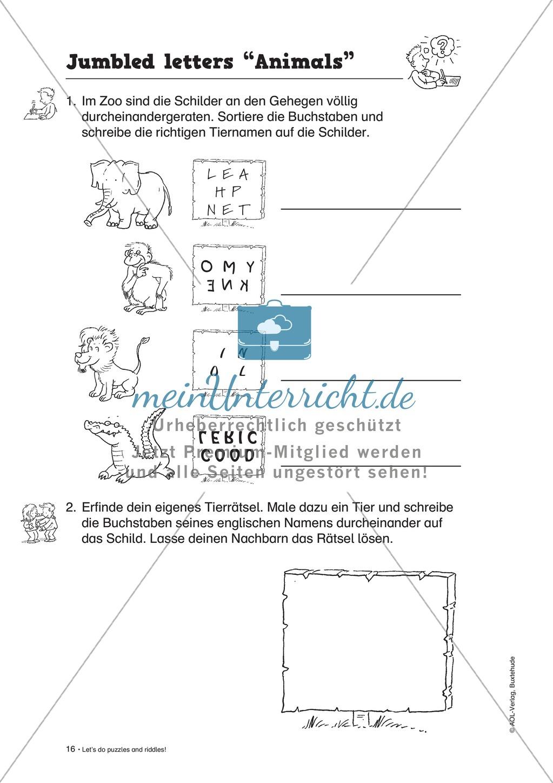 Knobel-.  Denk- und Schreibrätsel zur Festigung von Grundwortschaft und einfachen Satzmustern im Englischunterricht Preview 13