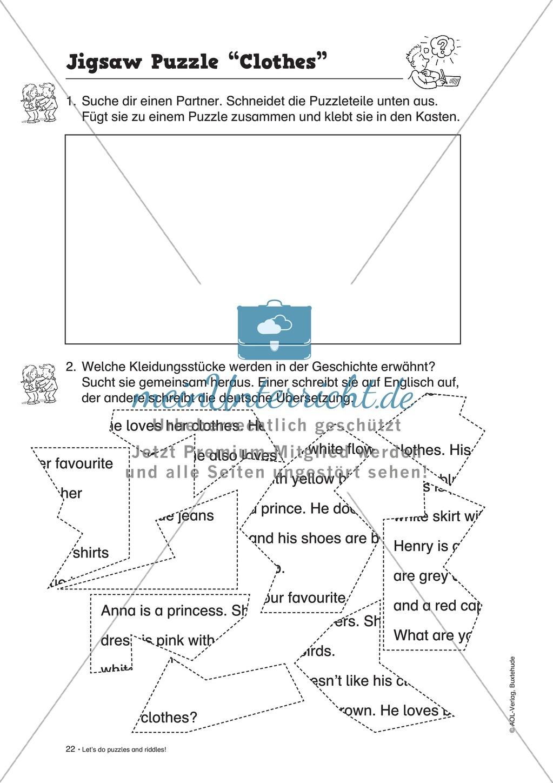 Knobel-.  Denk- und Schreibrätsel zur Festigung von Grundwortschaft und einfachen Satzmustern im Englischunterricht Preview 19
