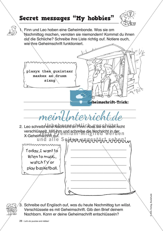 Knobel-.  Denk- und Schreibrätsel zur Festigung von Grundwortschaft und einfachen Satzmustern im Englischunterricht Preview 25