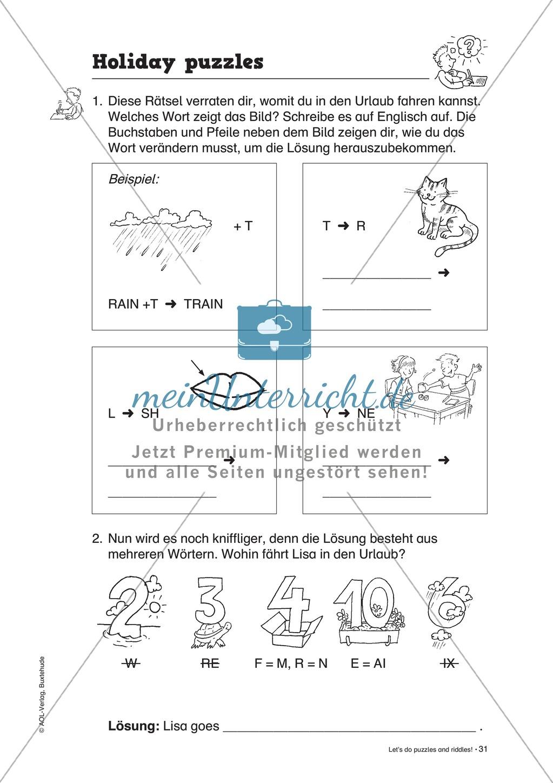 Knobel-.  Denk- und Schreibrätsel zur Festigung von Grundwortschaft und einfachen Satzmustern im Englischunterricht Preview 28