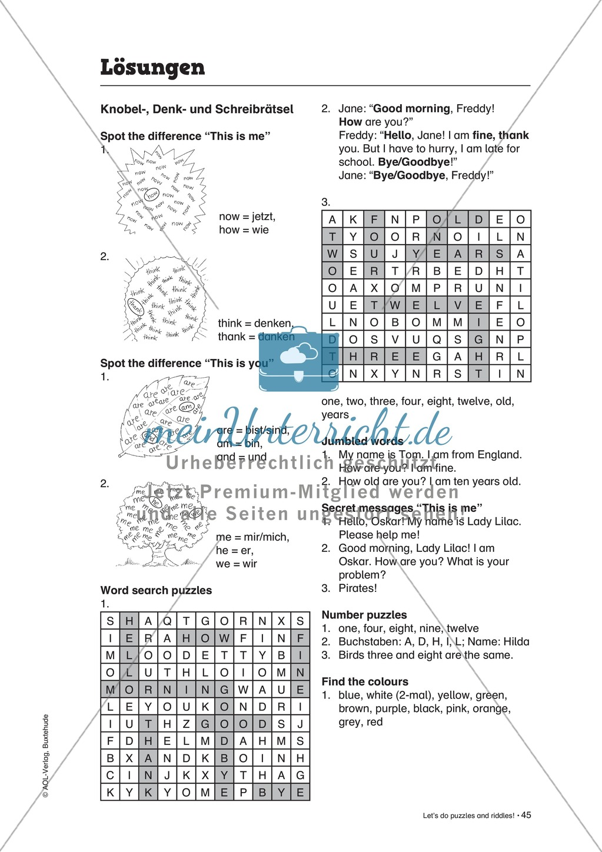 Knobel-.  Denk- und Schreibrätsel zur Festigung von Grundwortschaft und einfachen Satzmustern im Englischunterricht Preview 30