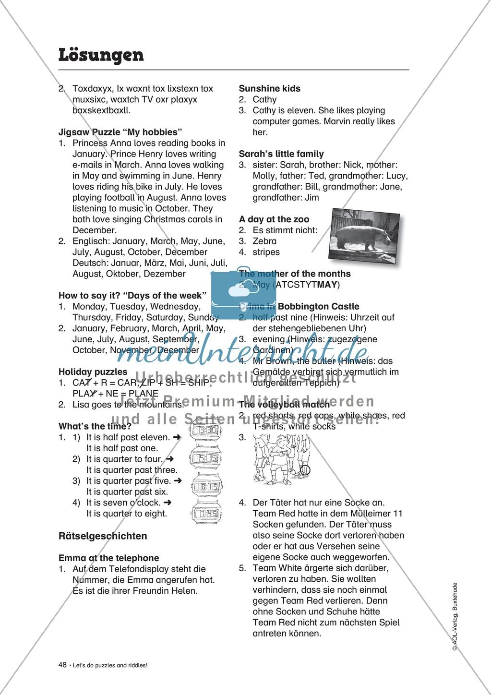 Knobel-.  Denk- und Schreibrätsel zur Festigung von Grundwortschaft und einfachen Satzmustern im Englischunterricht Preview 33