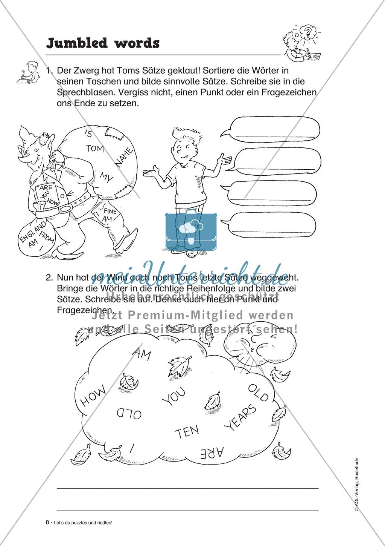 Knobel-.  Denk- und Schreibrätsel zur Festigung von Grundwortschaft und einfachen Satzmustern im Englischunterricht Preview 5