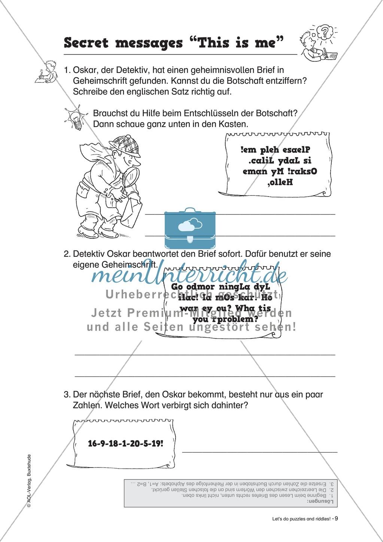 Knobel-.  Denk- und Schreibrätsel zur Festigung von Grundwortschaft und einfachen Satzmustern im Englischunterricht Preview 6