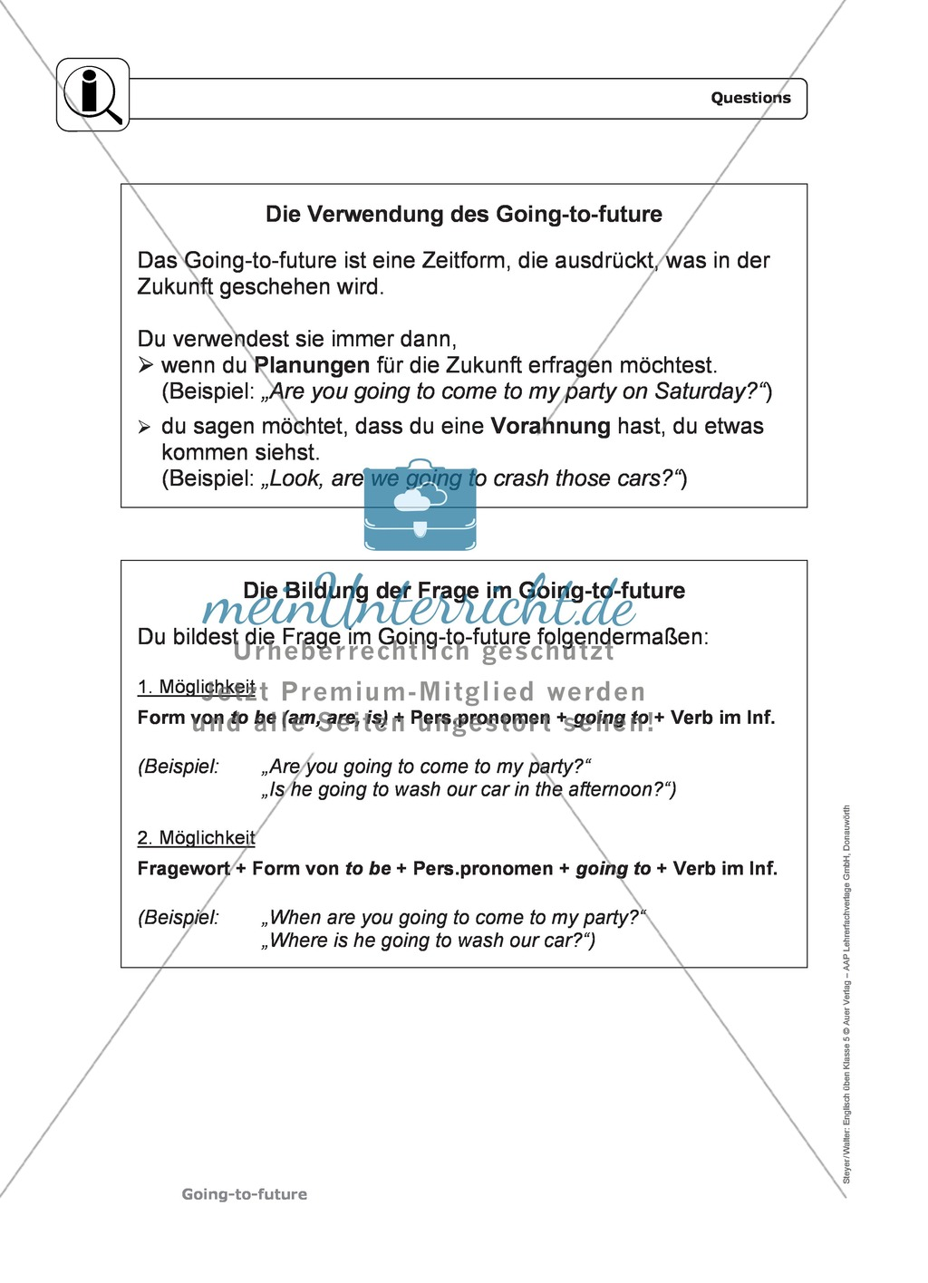 Going-to-future bei questions: Erklärung, Übungen + Lösungen Preview 0