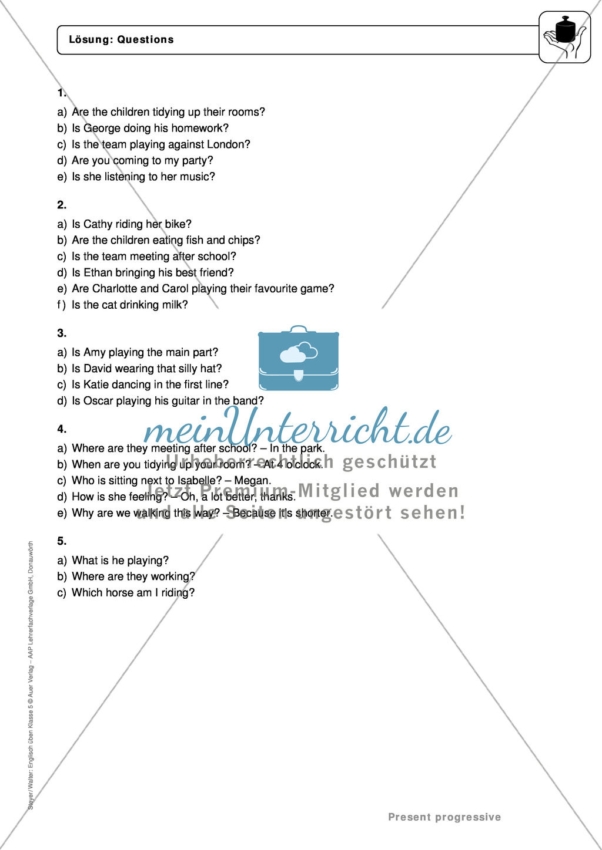 Present progressive bei questions: Erklärung, Übungen + Lösungen Preview 3