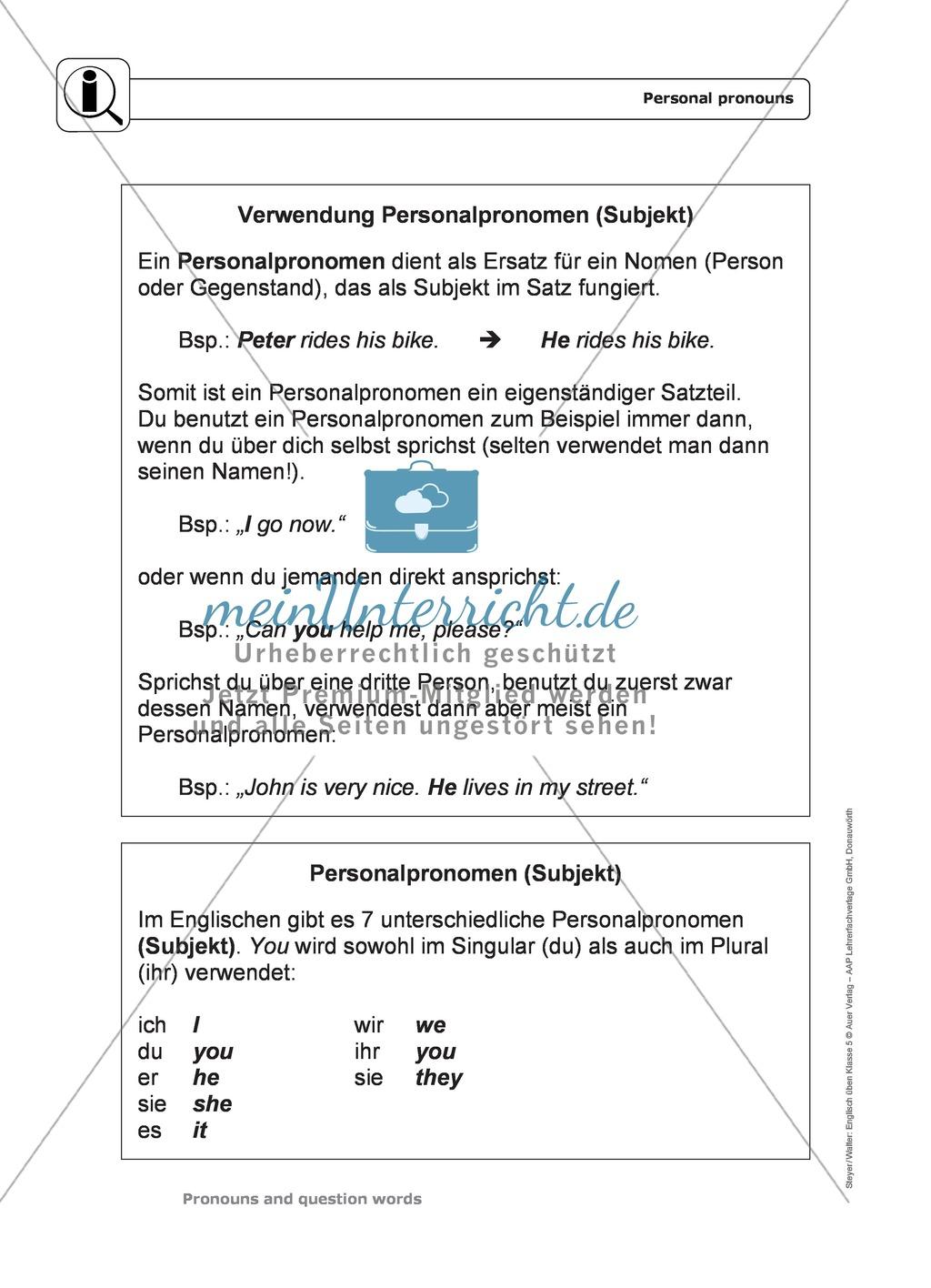 Personal pronouns: Erklärung, Übungen + Lösungen Preview 0