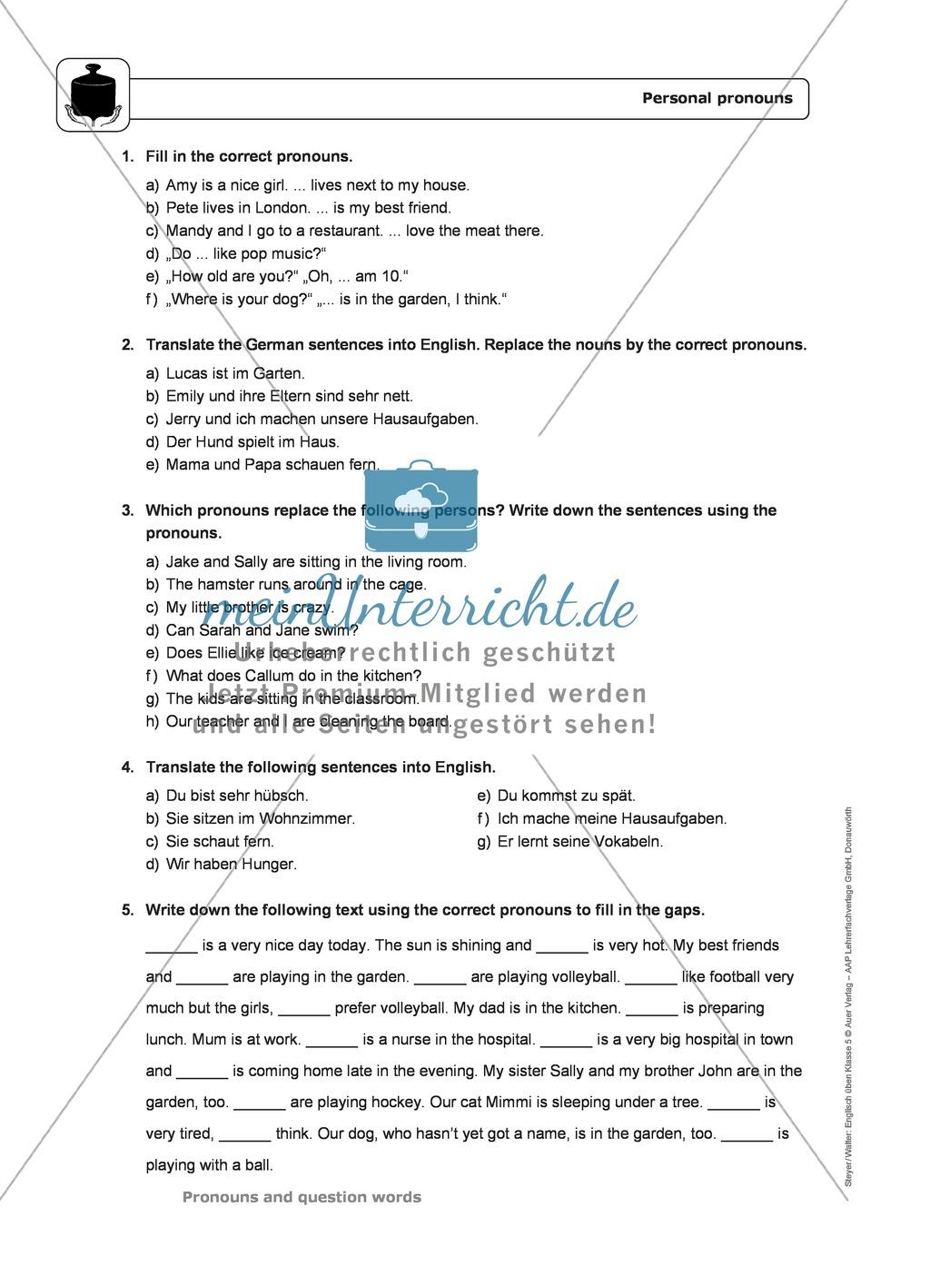 Personal pronouns: Erklärung, Übungen + Lösungen Preview 2