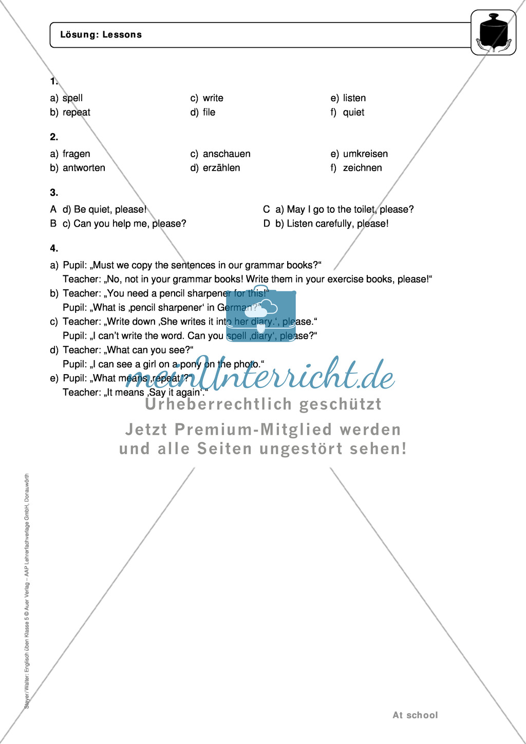 At school: lessons and classroom phrases - Exercises + Lösungen Preview 4