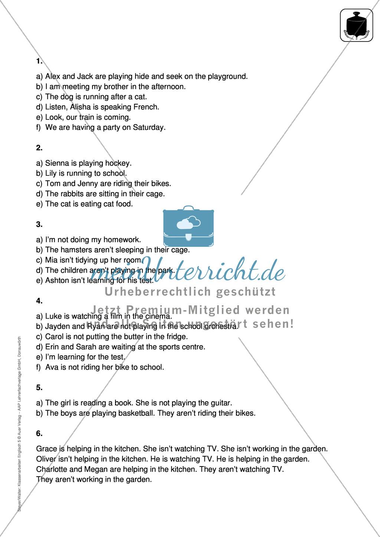 Klassenarbeit present progressive - schwer (2) - mit Lösungen Preview 2