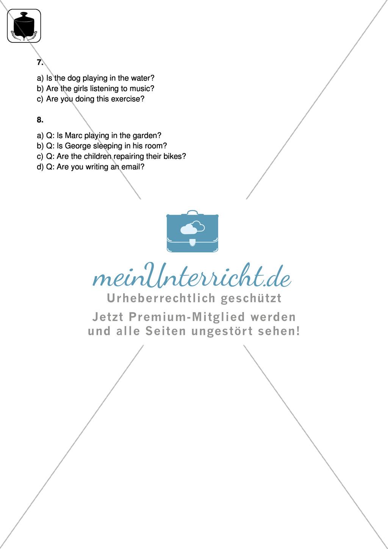 Klassenarbeit present progressive - schwer (2) - mit Lösungen Preview 3