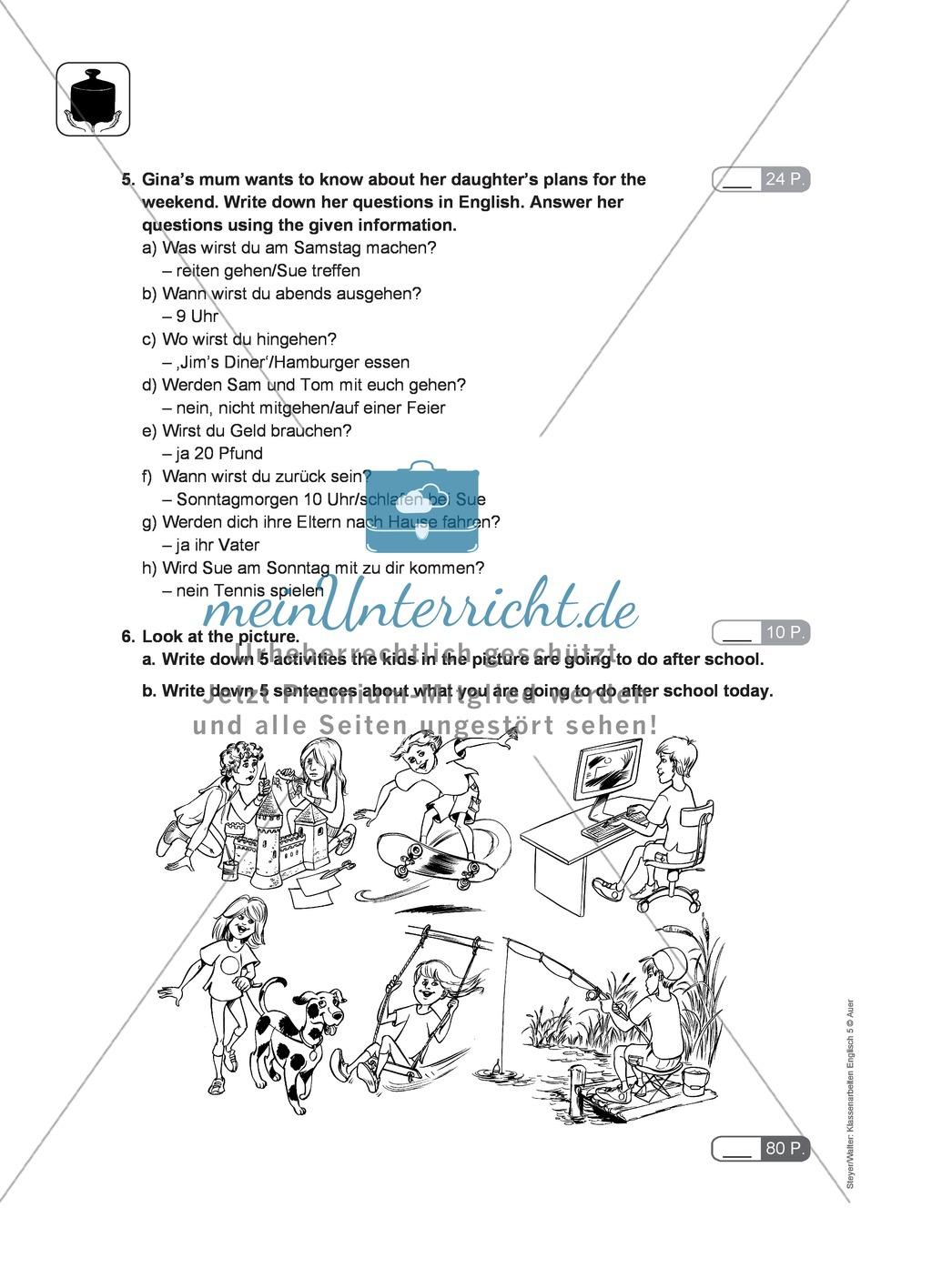 Klassenarbeit going-to-future - schwer (2) - mit Lösungen Preview 1