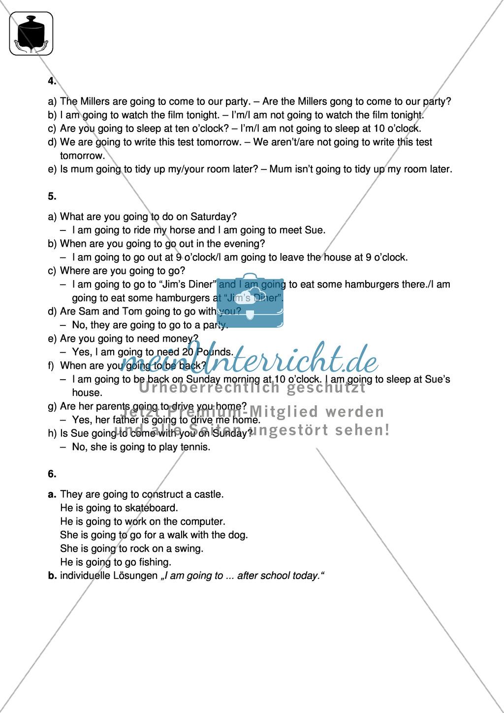 Klassenarbeit going-to-future - schwer (2) - mit Lösungen Preview 3