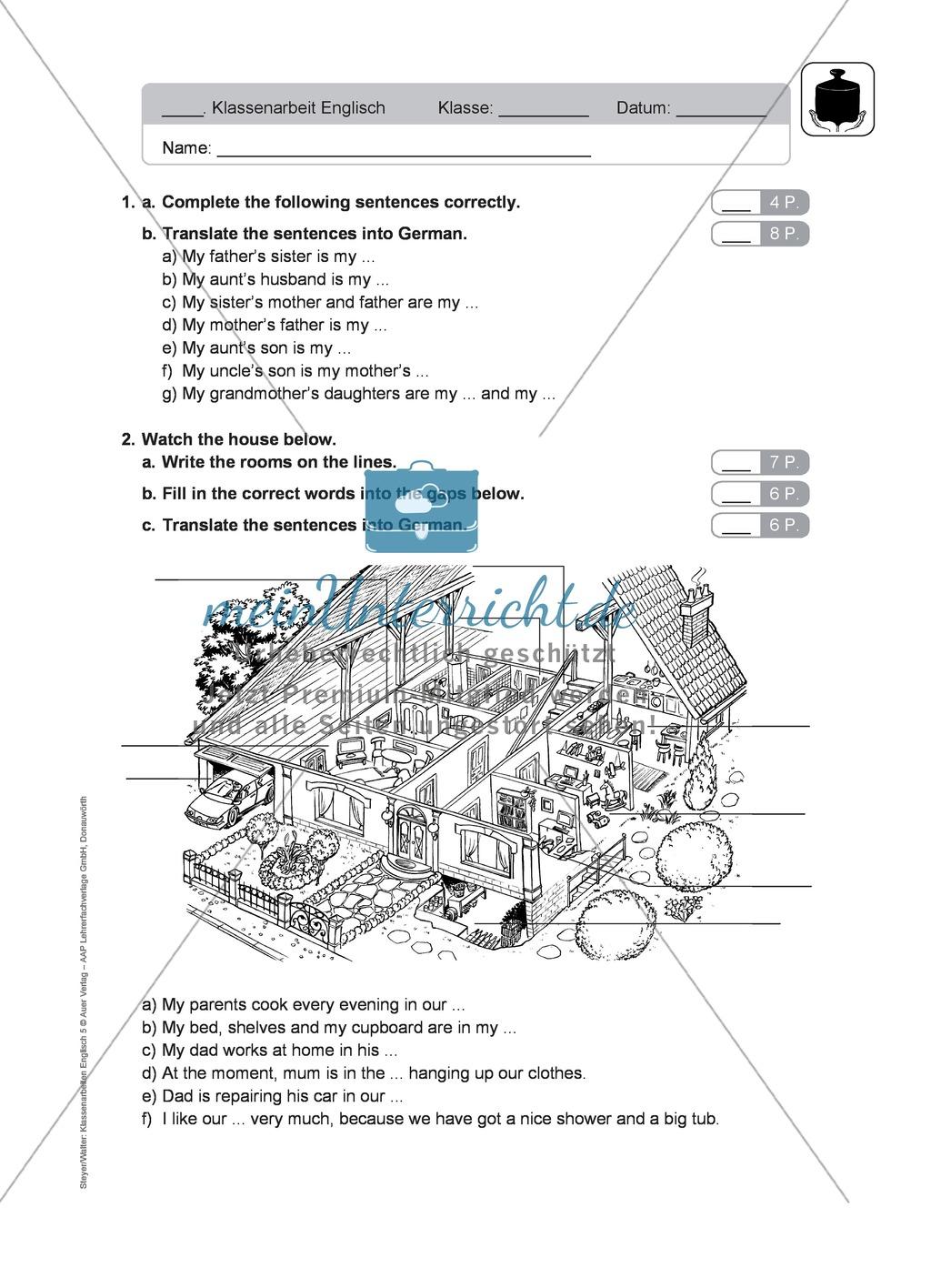 Klassenarbeit At home - schwer (1) - mit Lösungen Preview 1