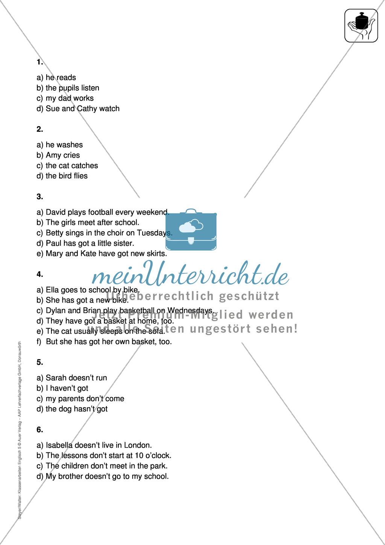 Klassenarbeit simple present - einfach (1) - mit Lösungen Preview 2