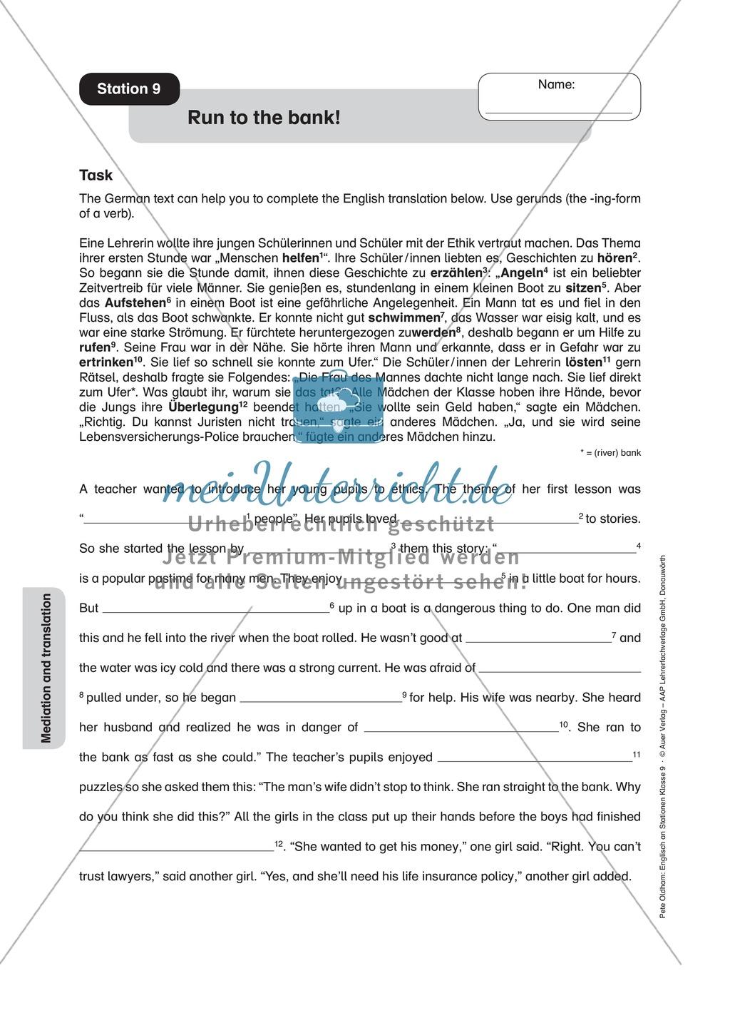 Stationenlernen in der 9. Klasse: Mediation and translation Preview 10