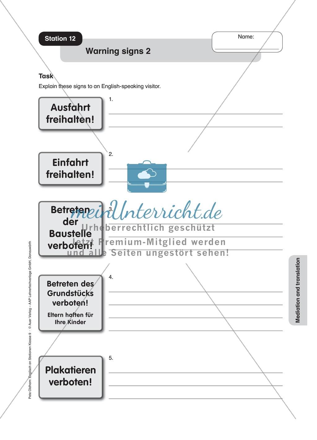 Stationenlernen in der 9. Klasse: Mediation and translation Preview 13