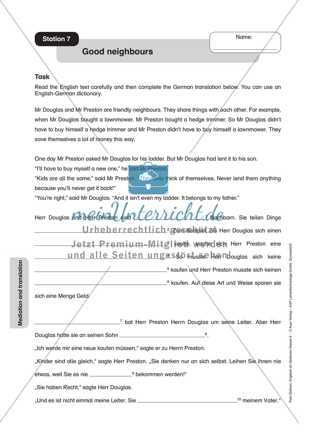Stationenlernen in der 9. Klasse: Mediation and translation Preview 8