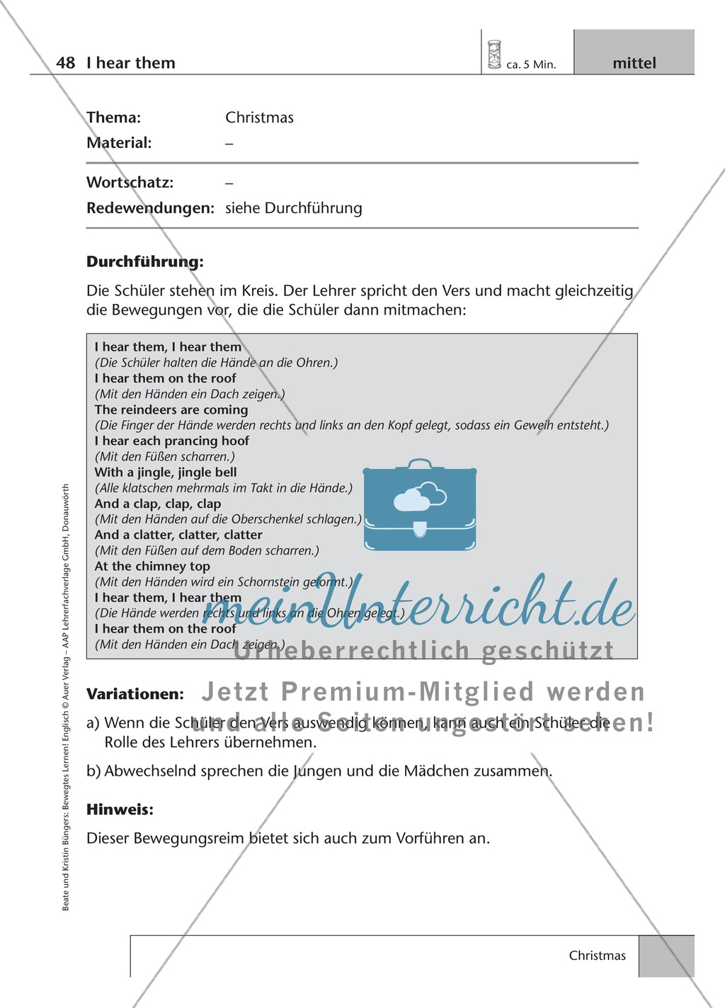 Englisch lernen mit Bewegung: Exercises on the topics: seasons + weather + special holidays + time + prepositions Preview 14