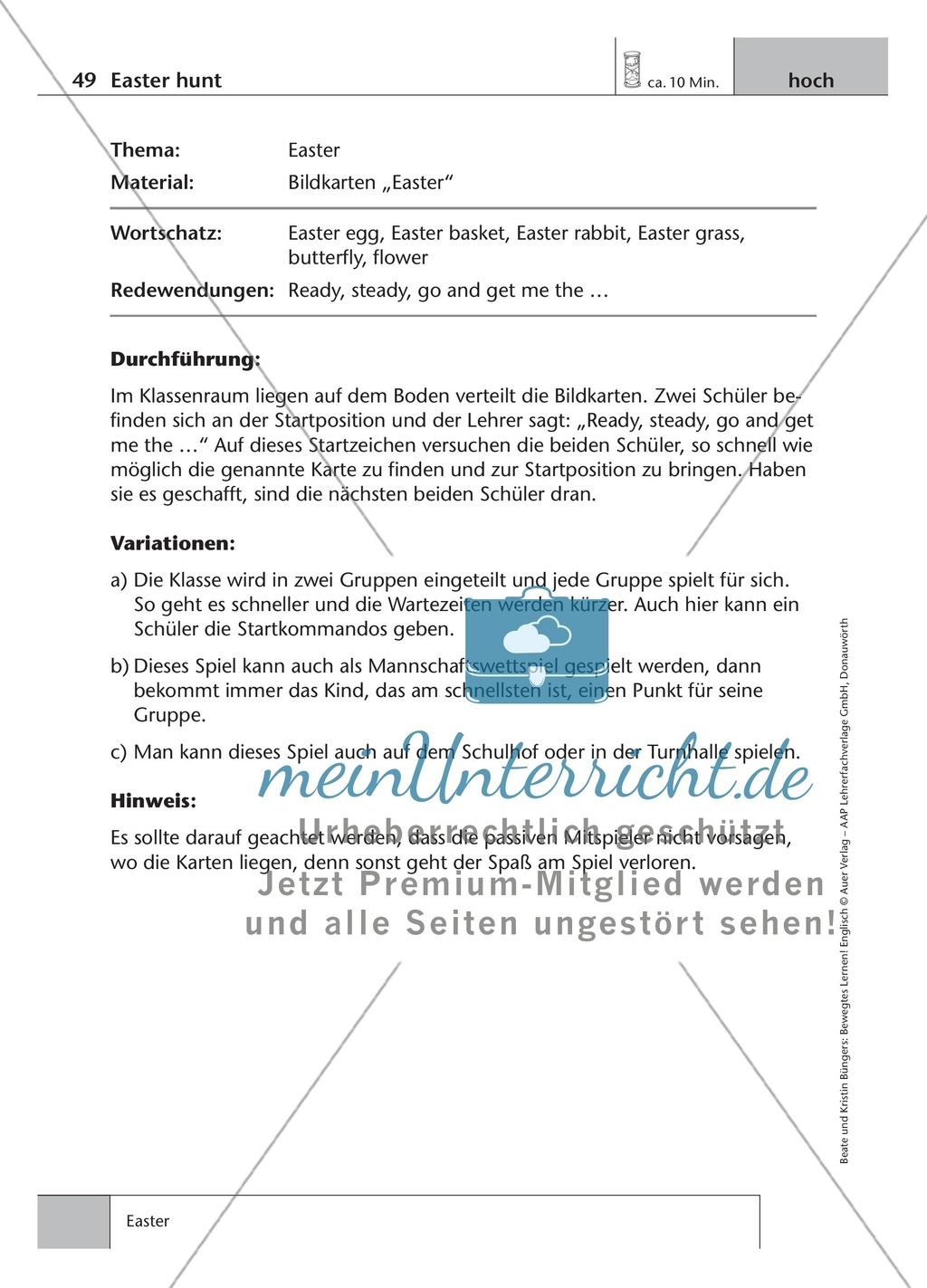 Englisch lernen mit Bewegung: Exercises on the topics: seasons + weather + special holidays + time + prepositions Preview 15