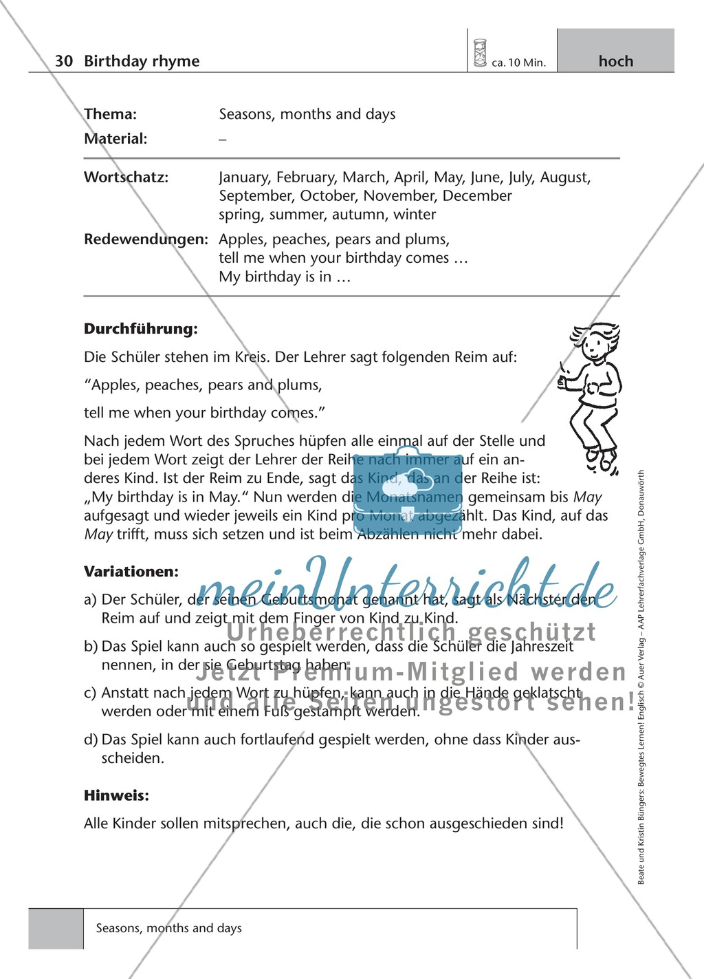 Englisch lernen mit Bewegung: Exercises on the topics: seasons + weather + special holidays + time + prepositions Preview 1