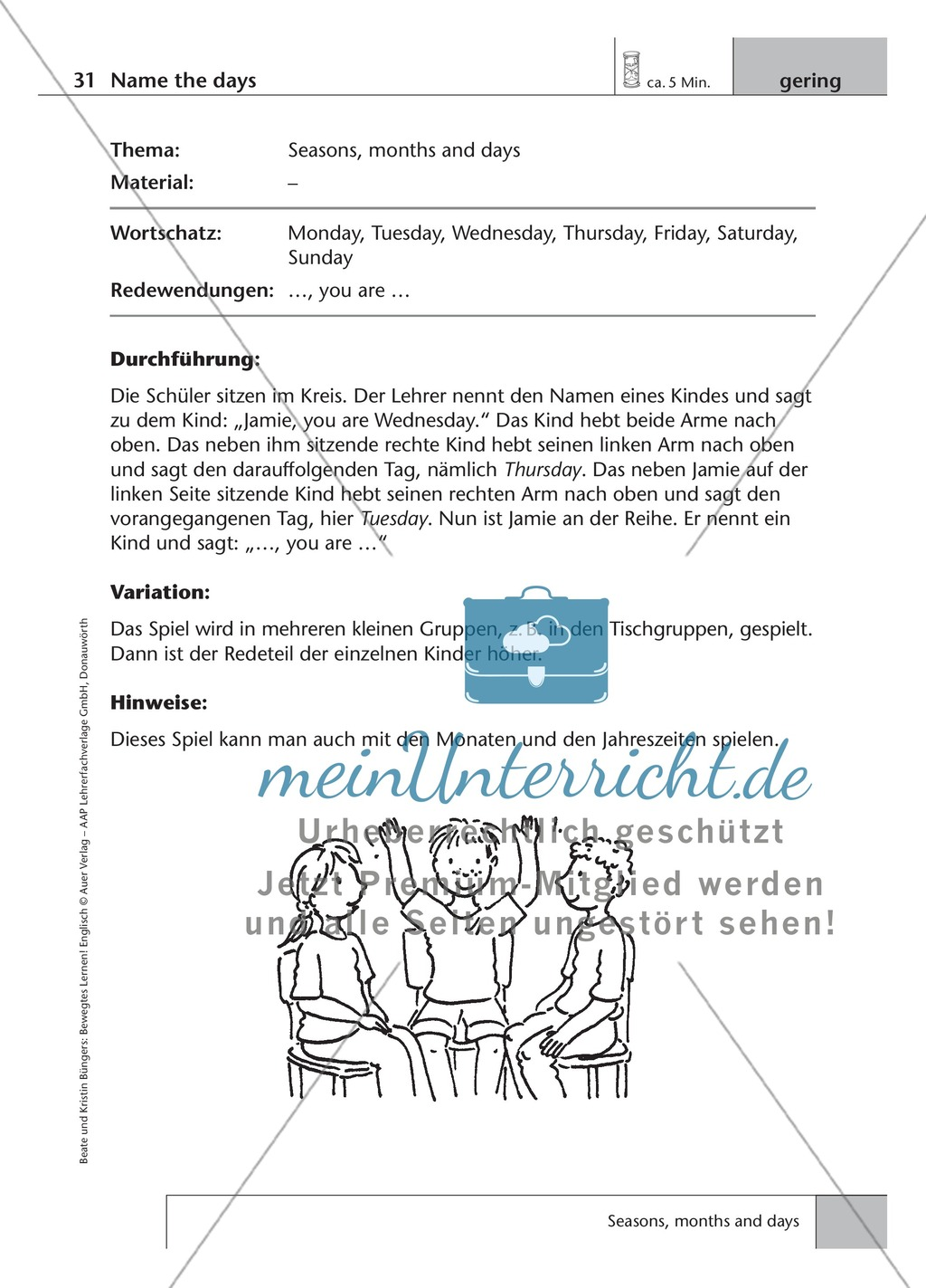 Englisch lernen mit Bewegung: Exercises on the topics: seasons + weather + special holidays + time + prepositions Preview 2