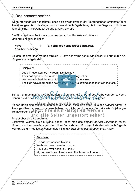 Erklärung present perfect für Schüler Preview 1