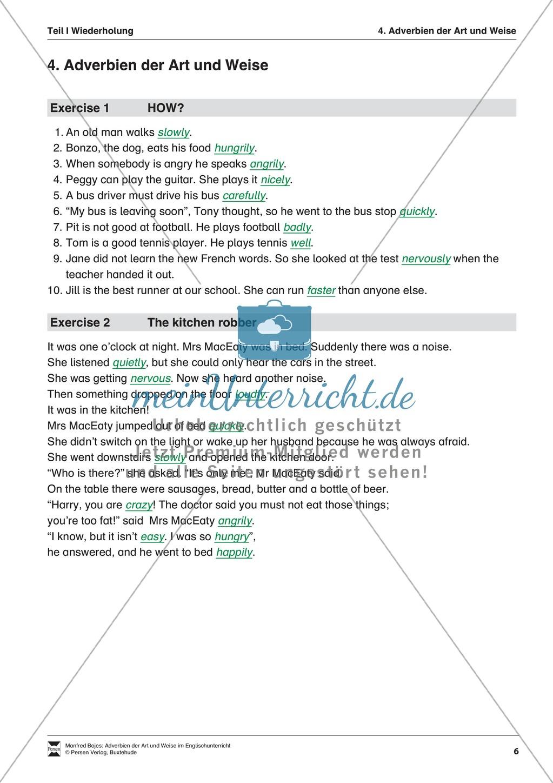 Exercises Adverbien der Art und Weise + Lösungen - meinUnterricht