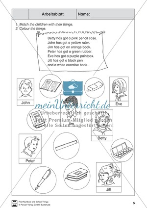 School things: Bild-Satz-Zuordnung
