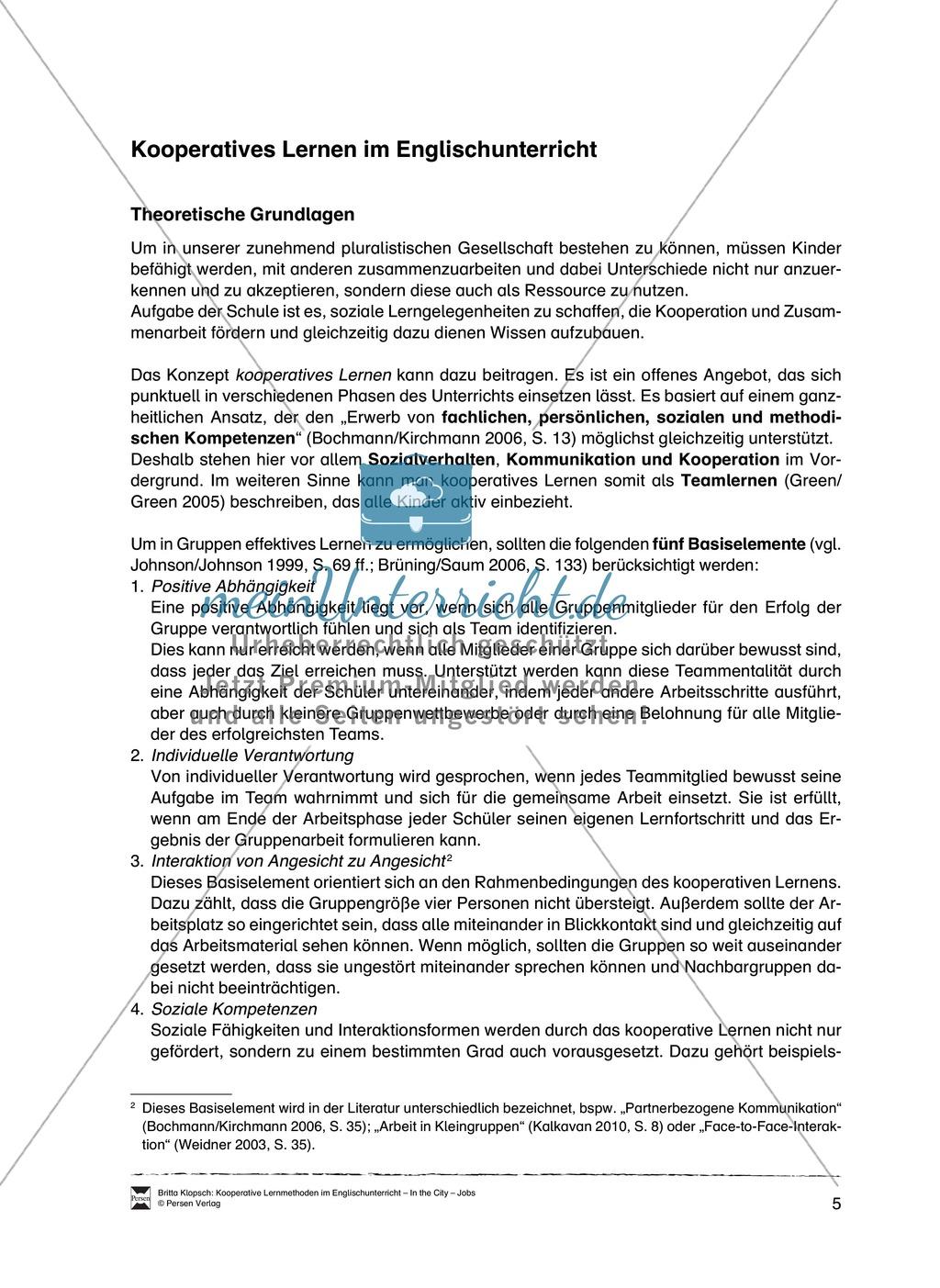 Kooperatives Lernen im Englischunterricht: Grundlagen + Ziele + Methoden Preview 0