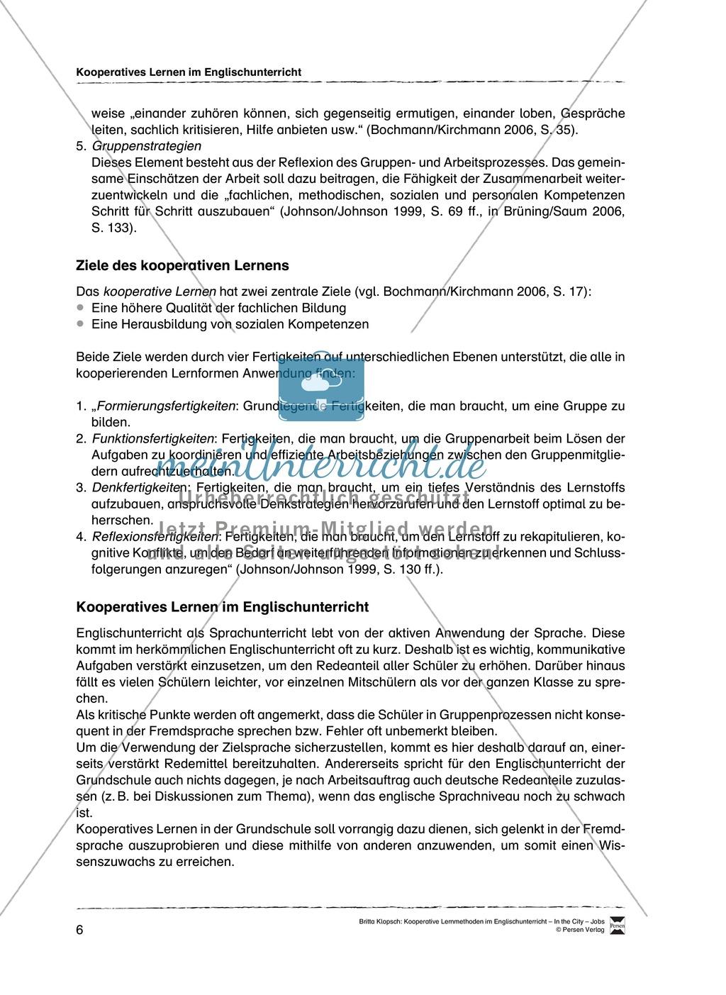 Kooperatives Lernen im Englischunterricht: Grundlagen + Ziele + Methoden Preview 1