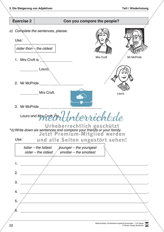 Grundwissen Steigerung von Adjektiven: Erklärung, Übungen und Lösungen Preview 3