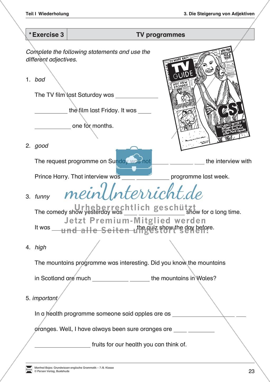 Grundwissen Steigerung von Adjektiven: Erklärung, Übungen und Lösungen Preview 4