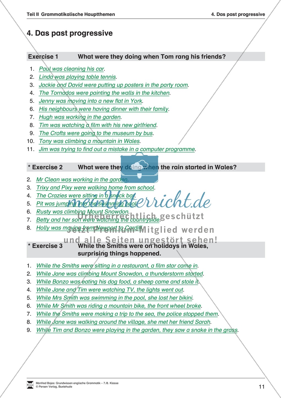 Grundwissen past progressive: Erklärung, Übungen und Lösungen Preview 4