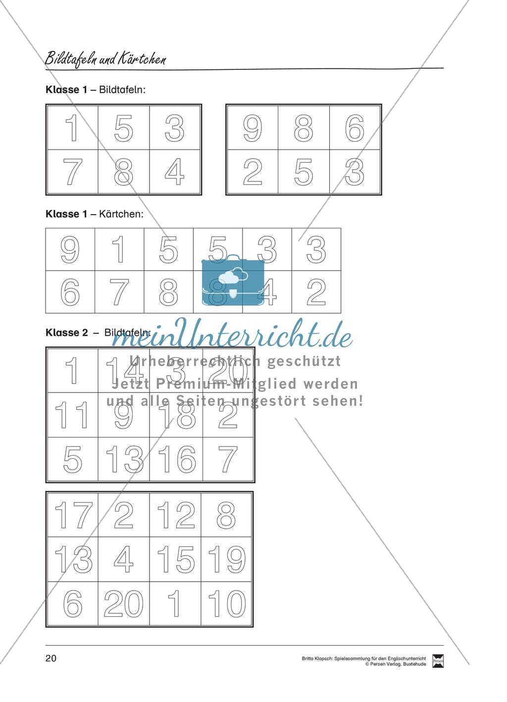 Vokabel-Lernspiel: Lotto - School Items, Lunch, Hobbies Preview 1